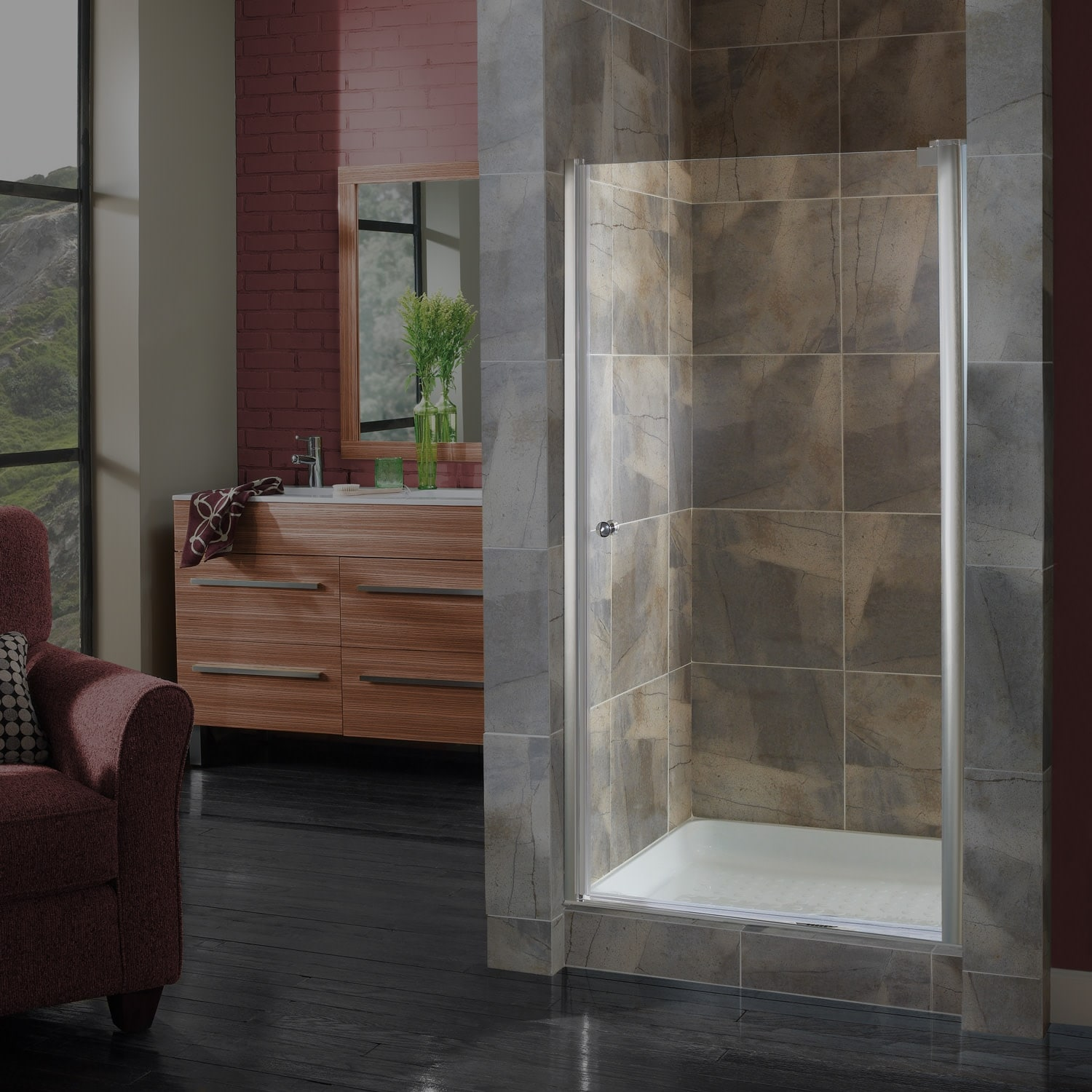 Miseno Msd3572clq Pivot 72 High X 32 1 2 34 1 2 Wide Hinged Frameless Shower Door With 1 4 Clear Glass