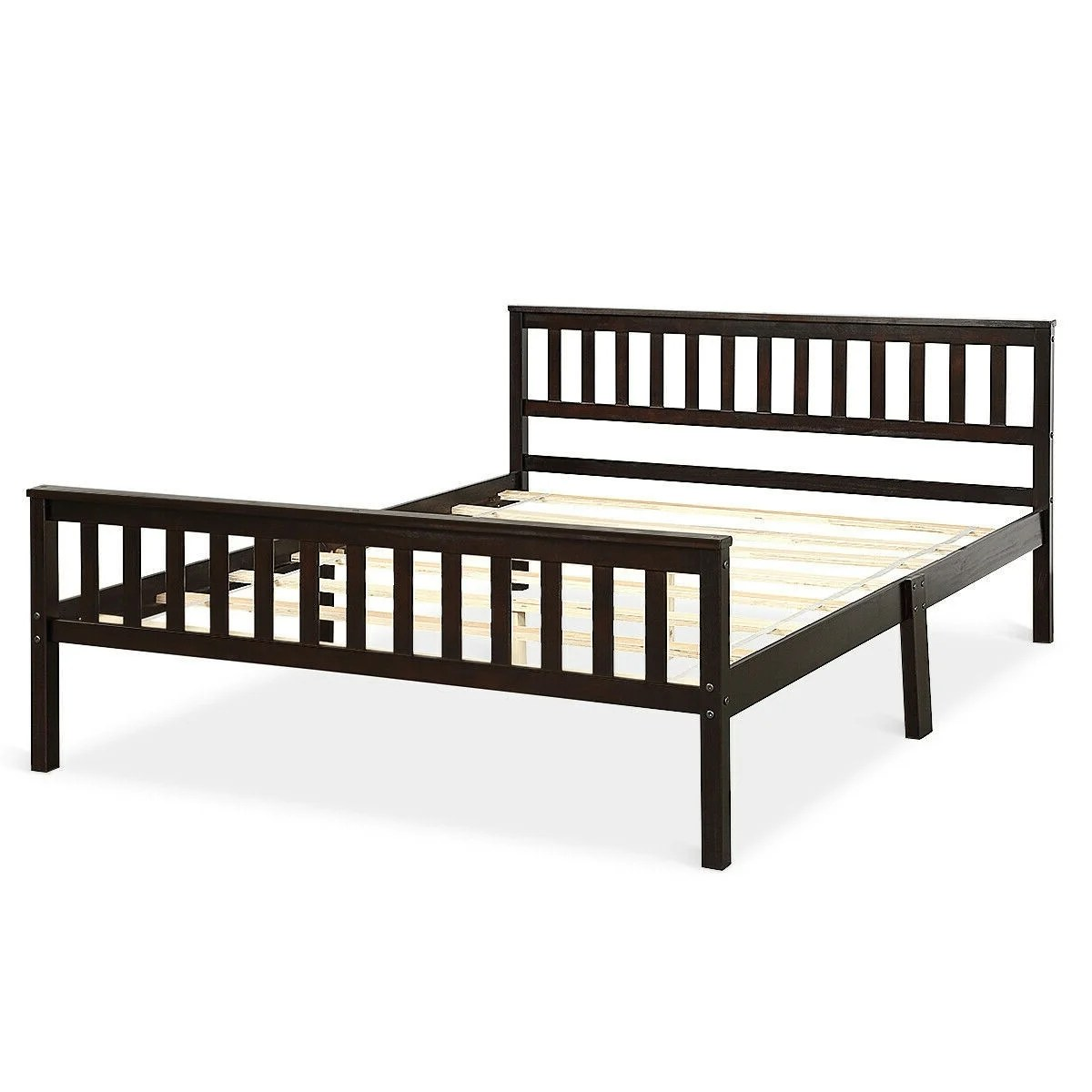 queen wood platform bed frame with headboard and footboard in espresso pictured