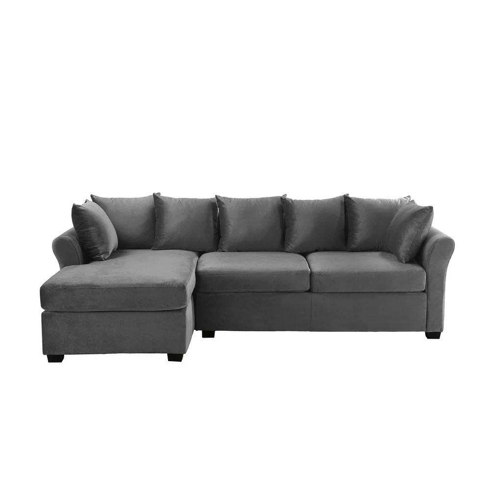 low profile sectional sofa with left facing chaise velvet