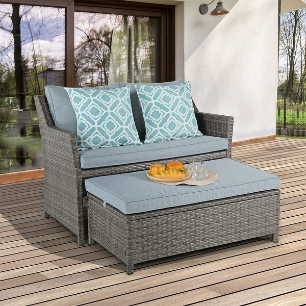 https www overstock com home garden 2 piece outdoor wicker cushioned loveseat with coffee table 33248708 product html