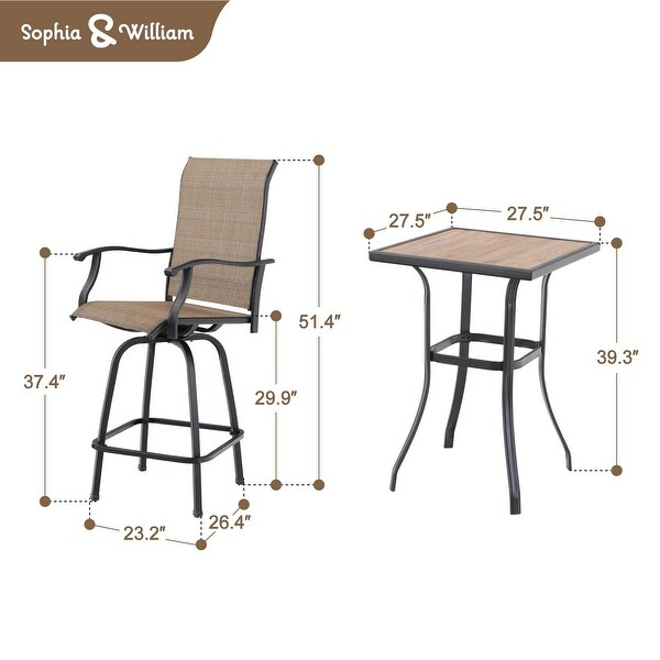 3 pc swivel bar stools set bar height