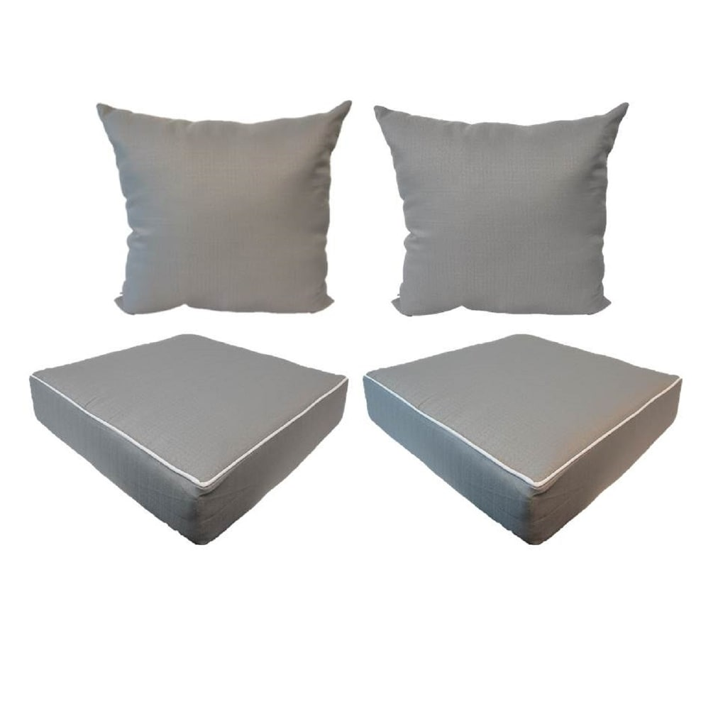 suntastic indoor outdoor grey textured seat cushions and pillows set of 4