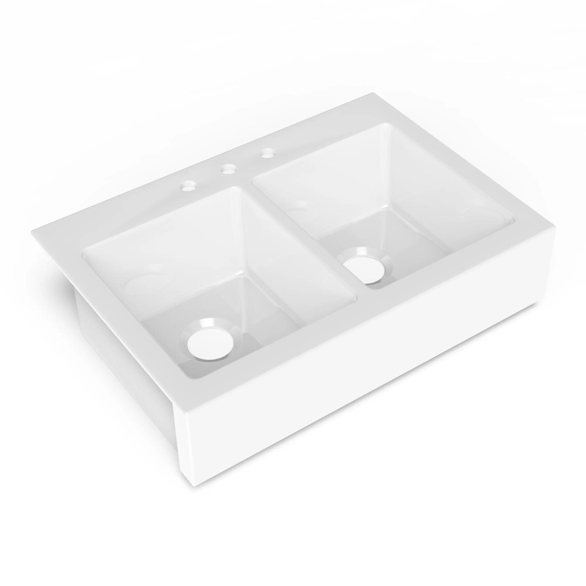 parker quickfit drop in farmhouse fireclay 33 85 in 3 hole double bowl kitchen sink in crisp white