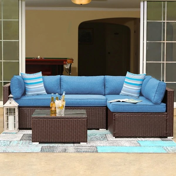 Shop COSIEST 5-Piece Patio Furniture Wicker Sectional Sofa ... on 5 Piece Sectional Patio Set id=45899