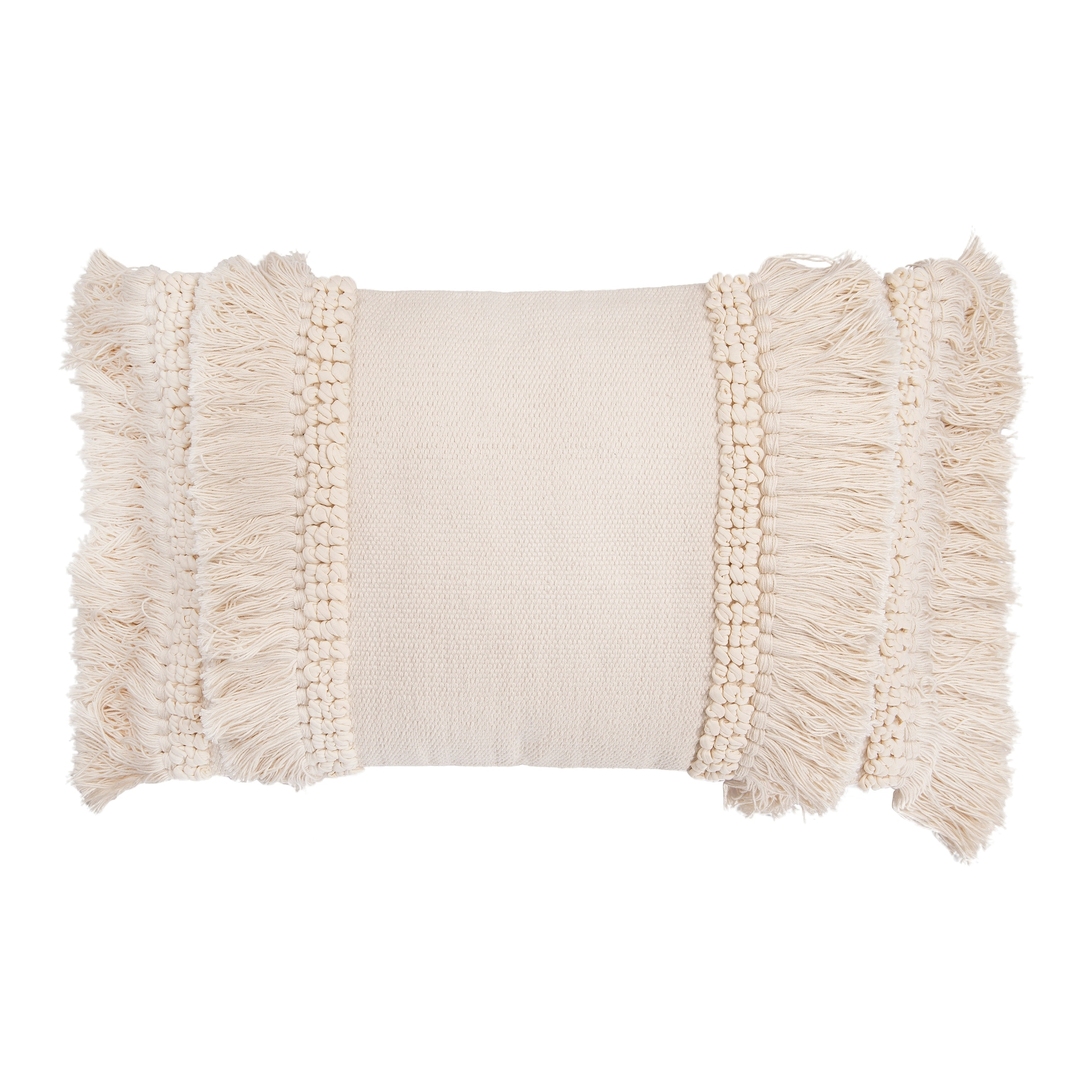 cream cotton chenille woven lumbar pillow with long fringe