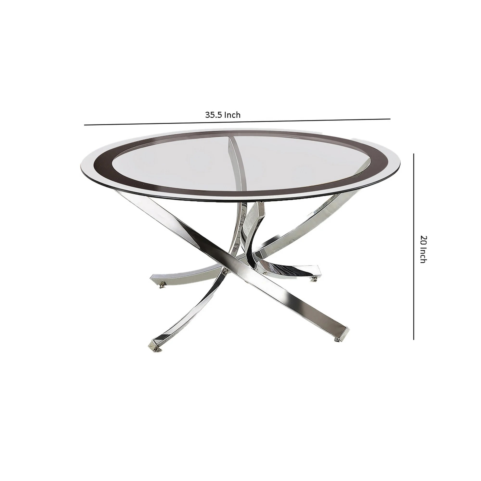 round tempered glass top coffee table with metal legs silver and clear
