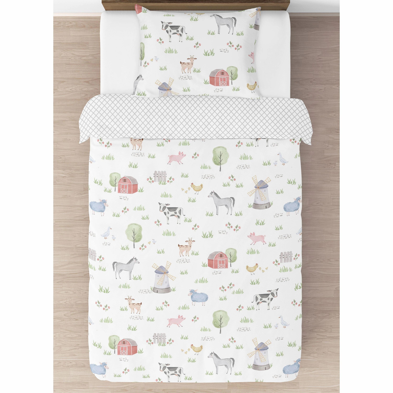 farm animals collection boy or girl 4 piece twin size comforter set watercolor farmhouse lattice horse cow sheep pig