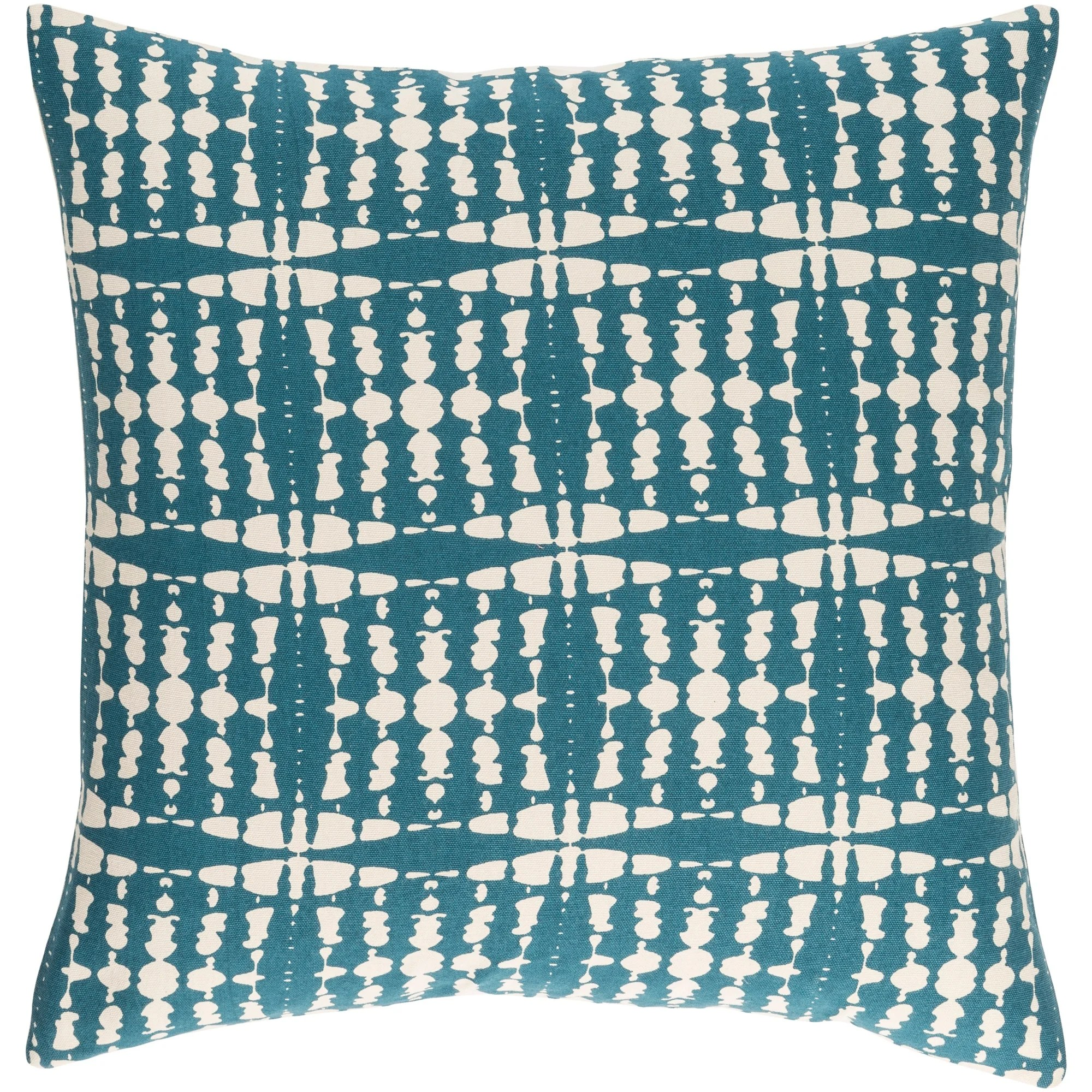 decorative staveley teal blue 22 inch throw pillow cover