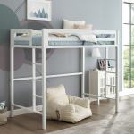 Taylor Olive Browning White Metal Modern Twin Loft Bed Overstock 11206717
