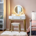 Shop Black Friday Deals On White 3 Piece Vanity Table Set With Adjustable Led Light N A Overstock 30913005