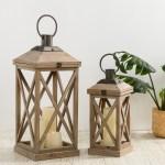Glitzhome Set Of 2 Modern Farmhouse Wooden Lantern 24 17 Overstock 30883634 Natural