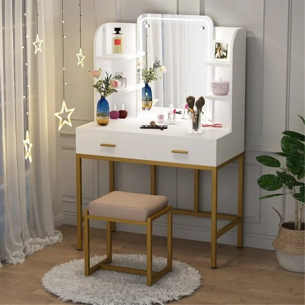 vanity set with lighted mirror and