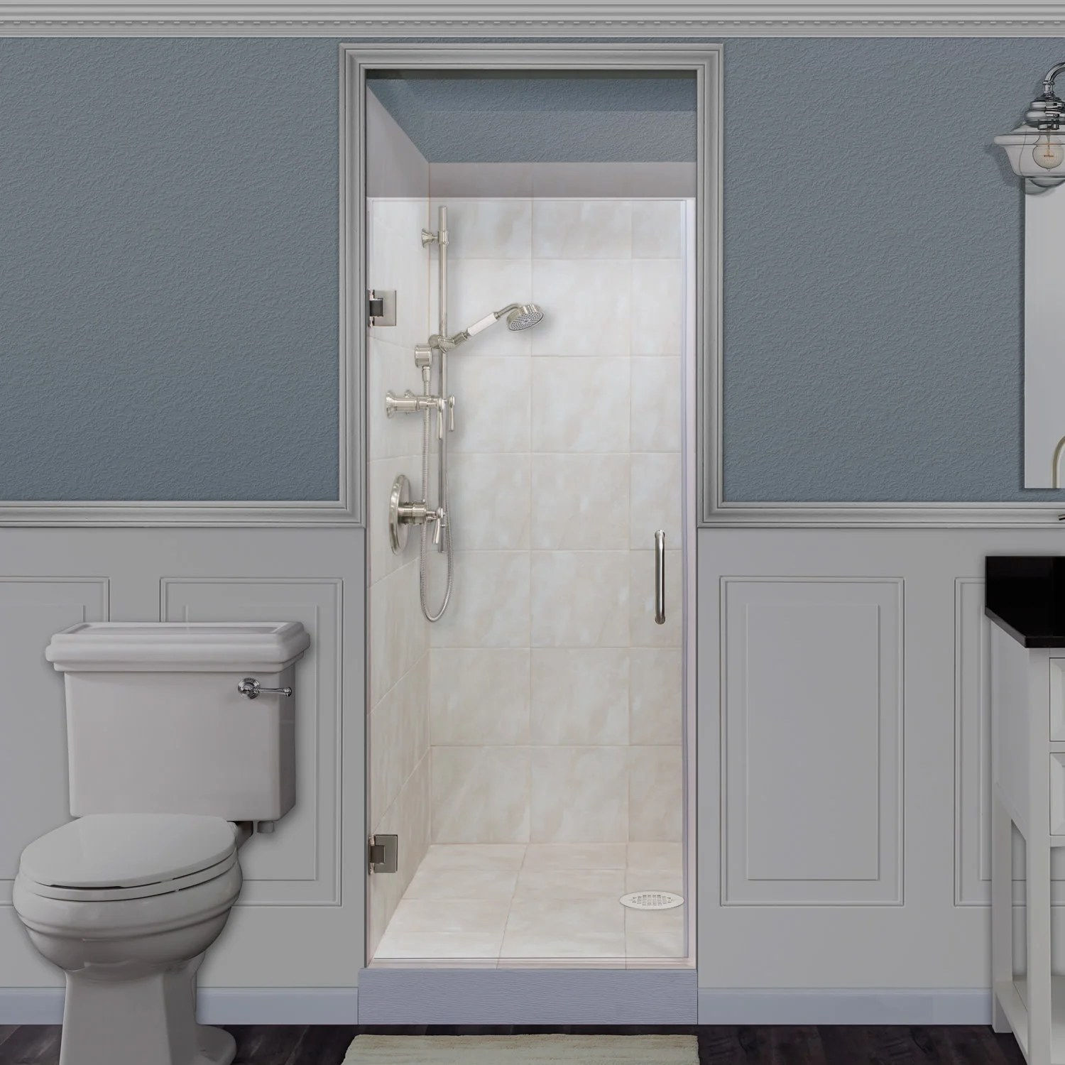 Miseno Msdcfl3072 72 High X 30 Wide Frameless Hinged Pivoting Shower Door With Clear 3 8 Glass And H2off Technology
