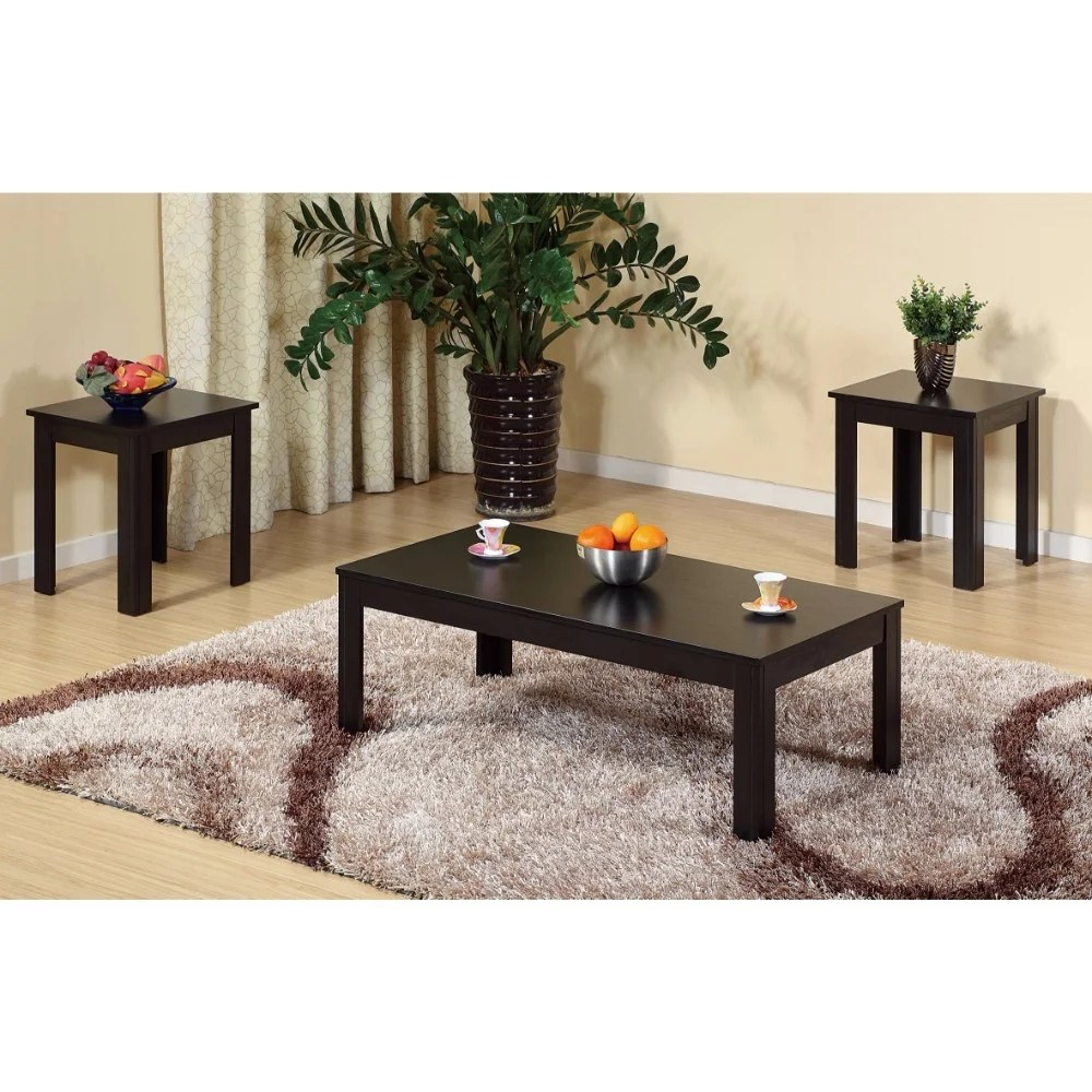 sleek contemporary coffee end table set of 3