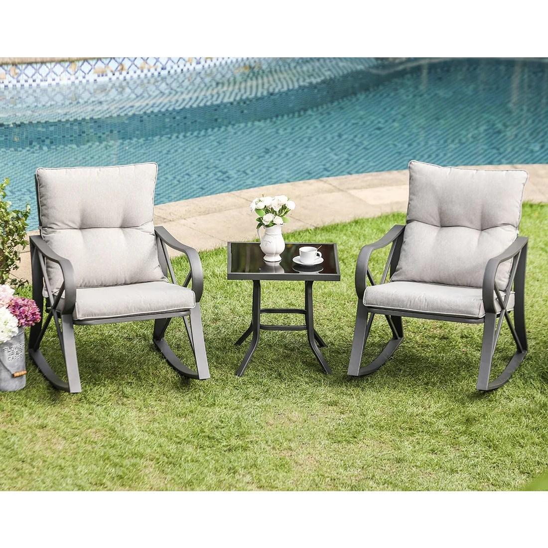 cosiest outdoor 3 piece rocking chair bistro set