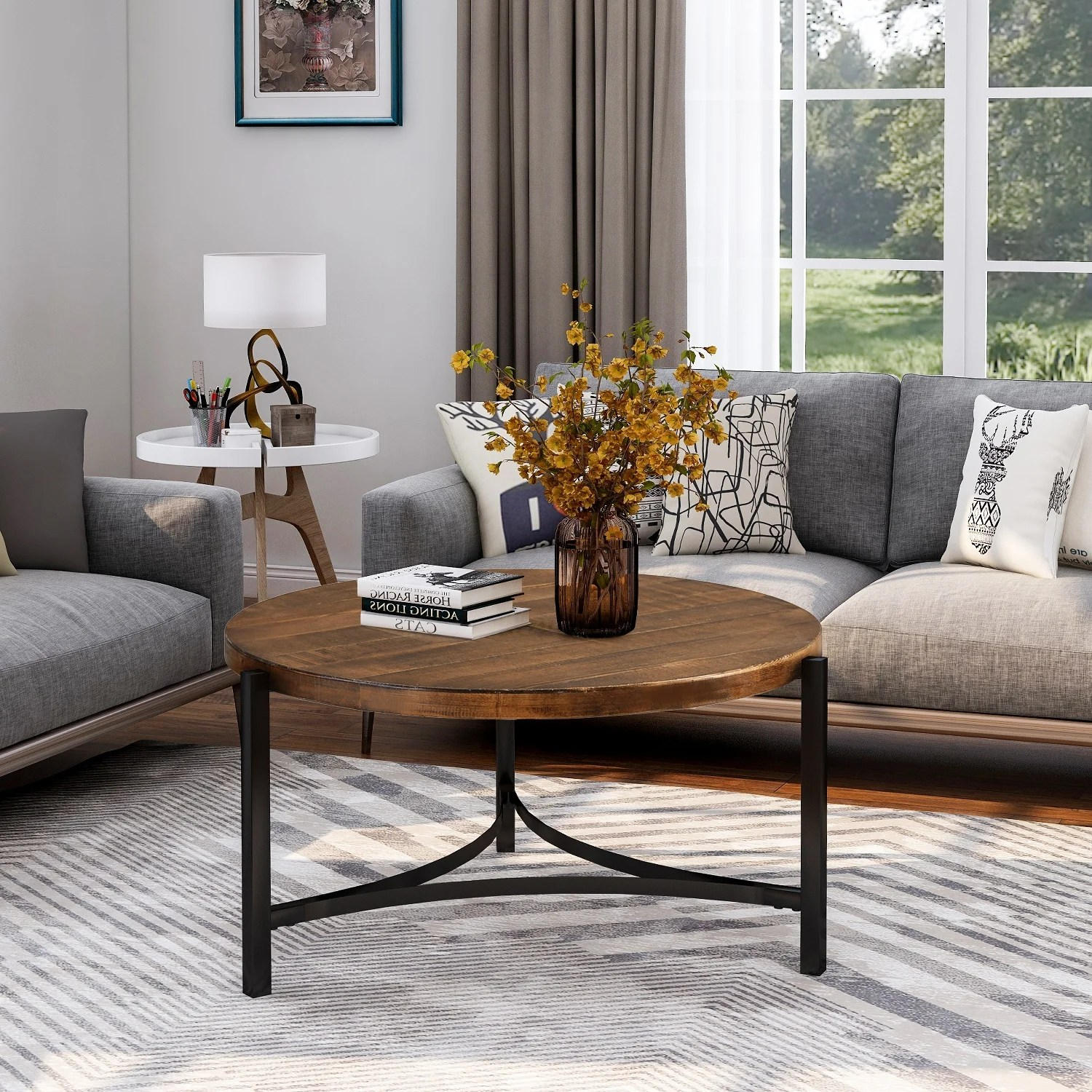 round coffee table industrial style tea table for living room