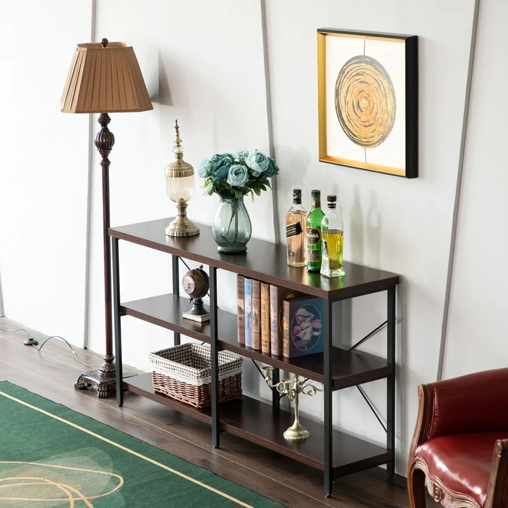 Zimtown3 Shelf Industrial Style Console Table Entryway Hallway Table Brown Dailymail