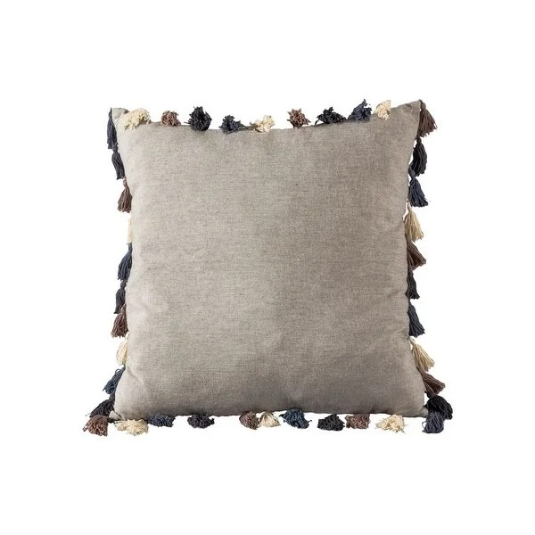 grey textured multi colored tassle pillow cover 20x20 inch pillow cover only white blue grey colors