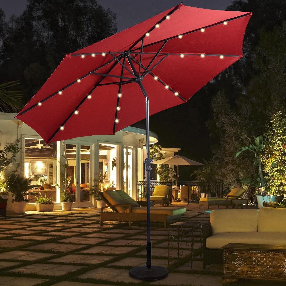 costway 10ft patio solar umbrella led patio market steel tilt w crank