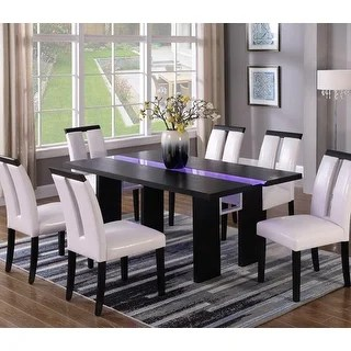 Shop Best Master Furniture Black Wood Dining Table With Led Lighting Overstock 23547866