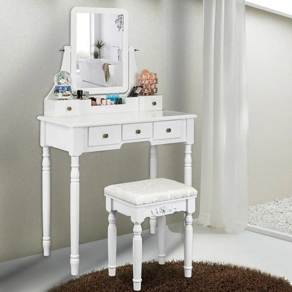 square mirror 5 drawers roman column