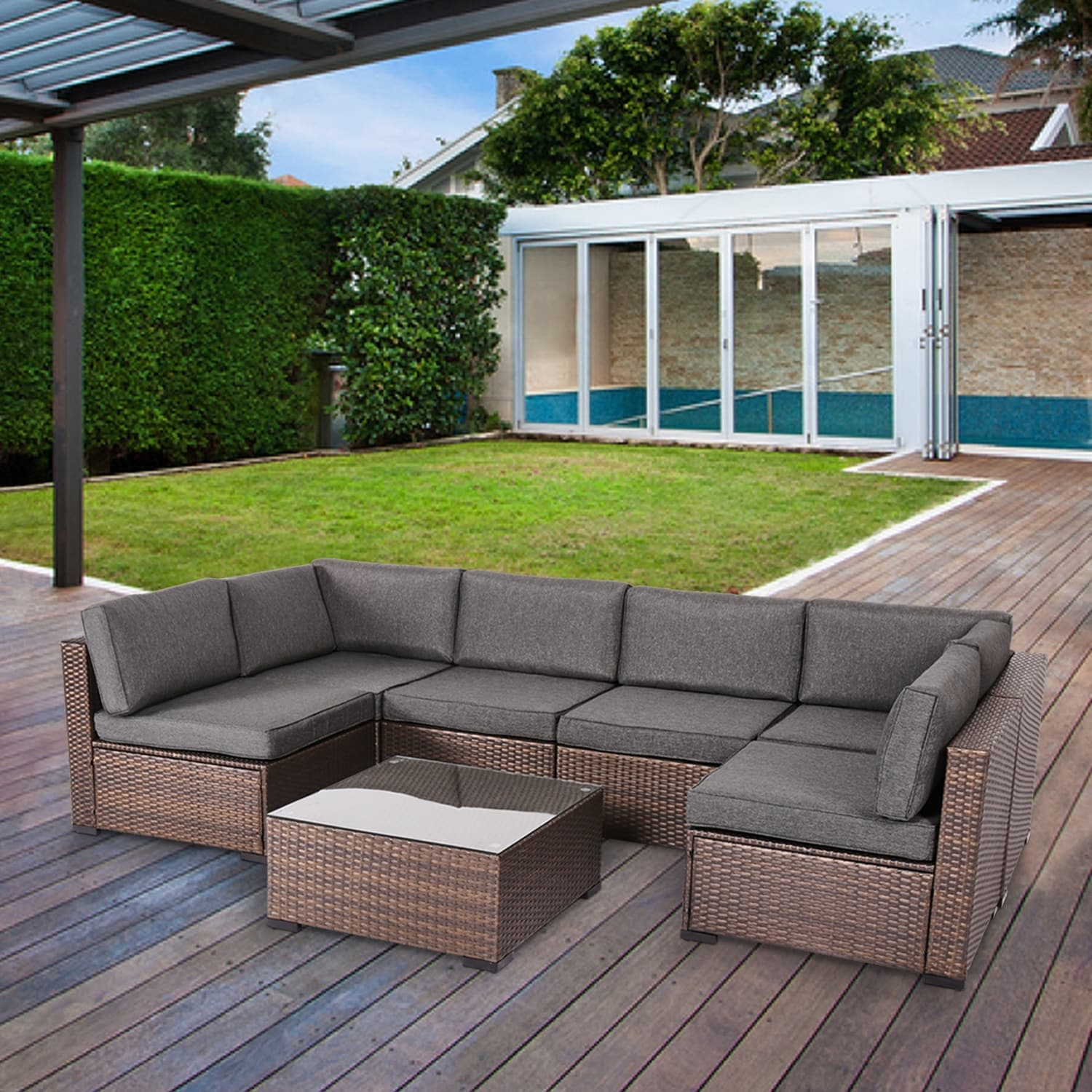 rumber 7 piece rattan wicker outdoor sectional sofa conversation set by havenside home