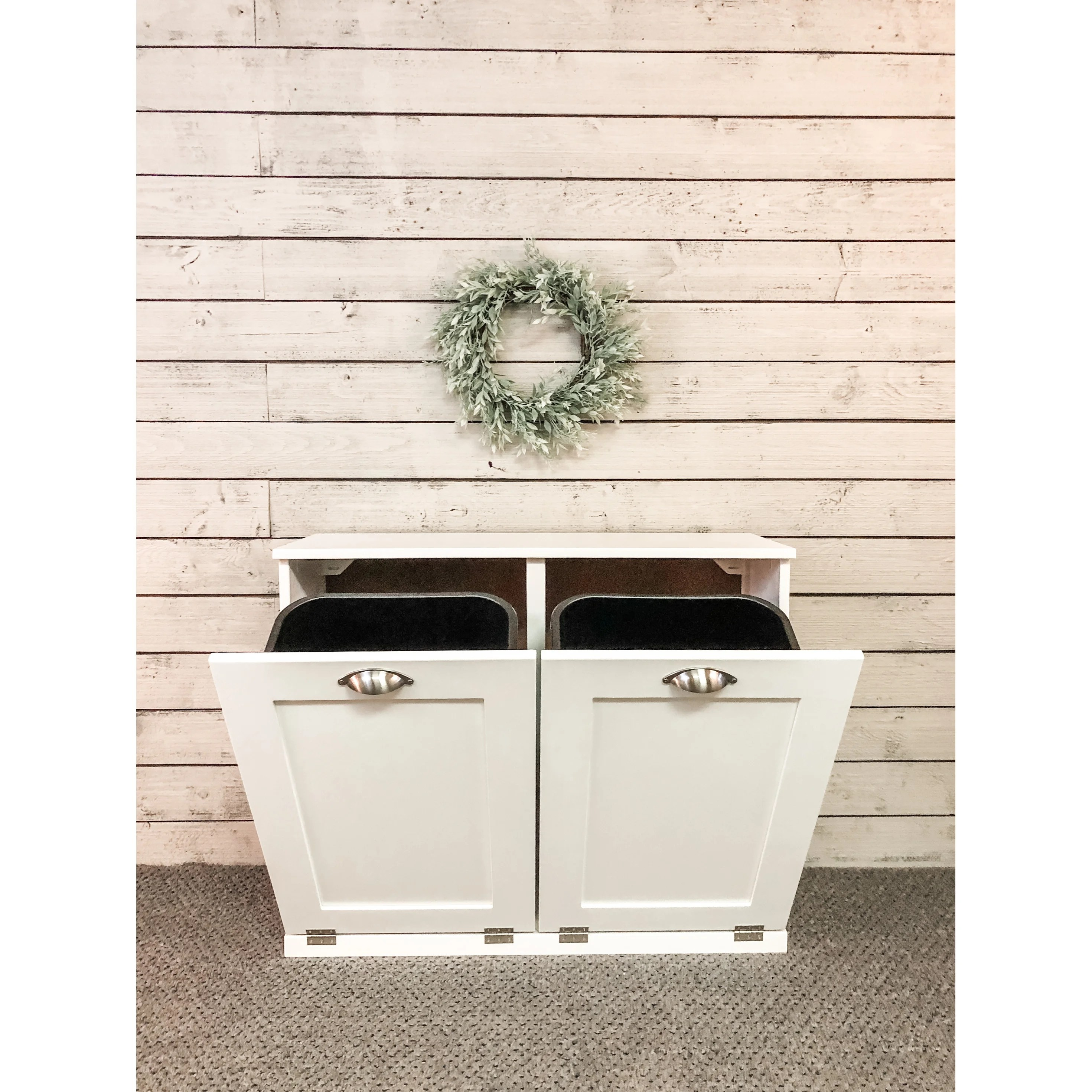 white double tilt out trash cabinet 35 25 in long x 28 5 in tall