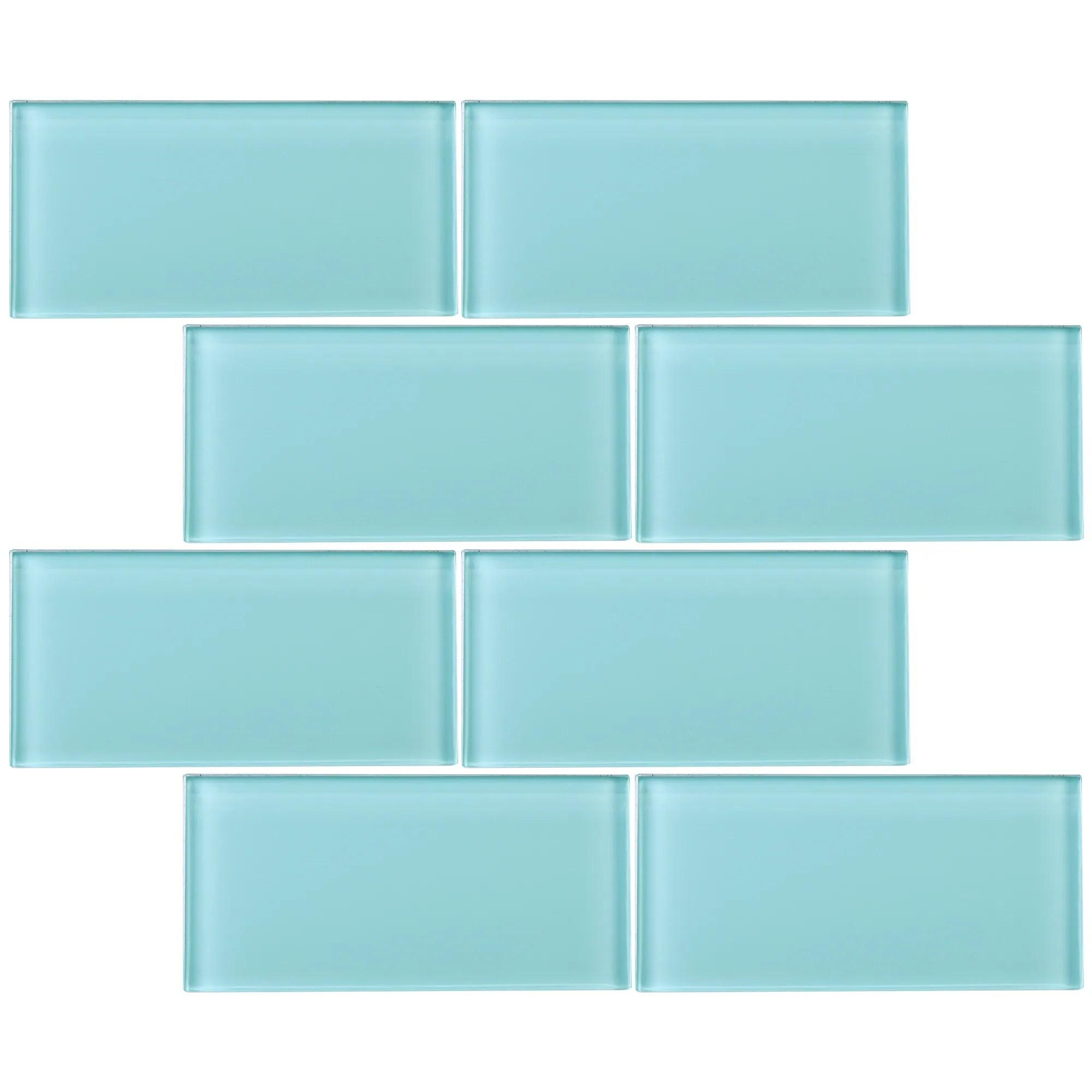 tilegen 3 x 6 glass subway tile in ocean blue wall tile 80 tiles 10sqft