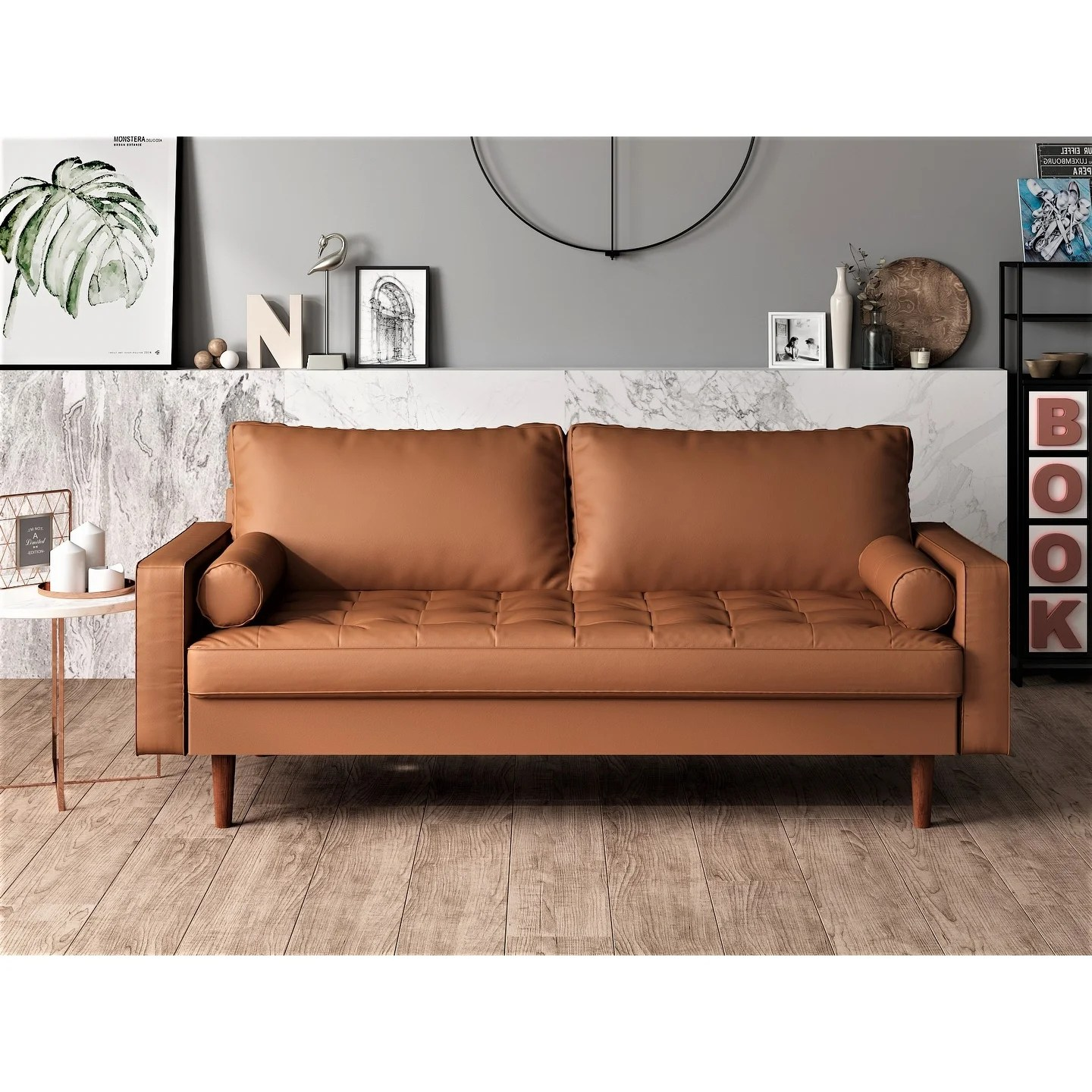 Us Pride Faux Leather Mid Century Modern Sofa On Sale Overstock 25994629