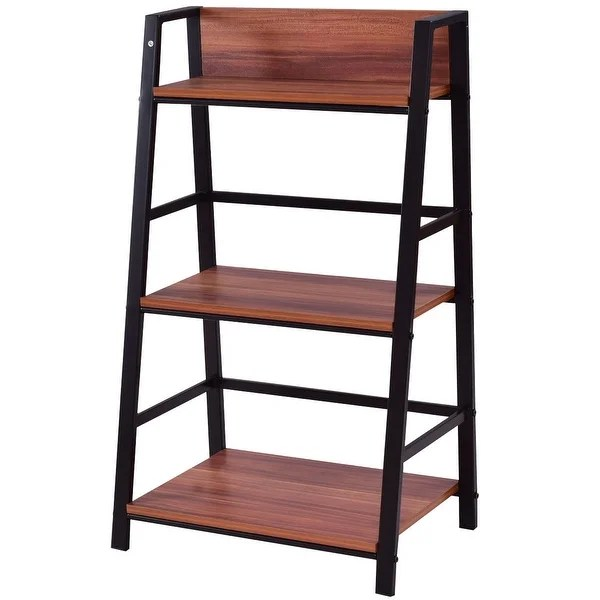 Shop Costway 3 Tier Ladder Storage Book Shelf Wall Bookcase Bundle Modern On Sale Overstock 18216210