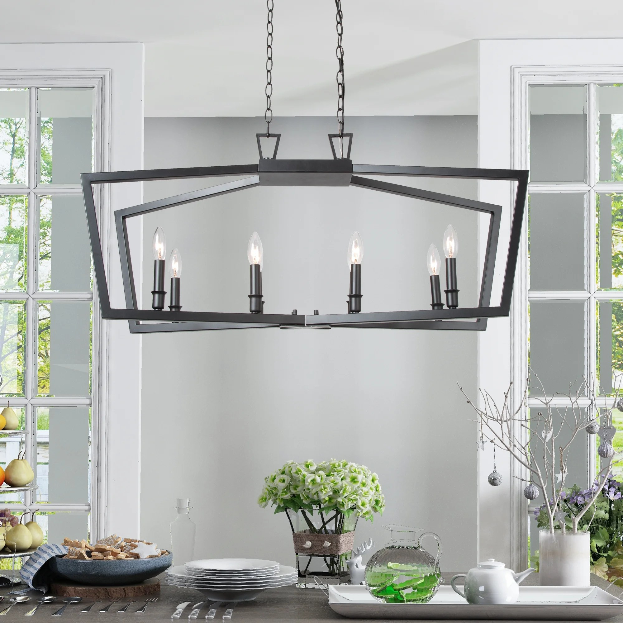 modern statement island chandeliers 8 lights black candle pendant lighting fixture for kitchen l37 xw13 xh17