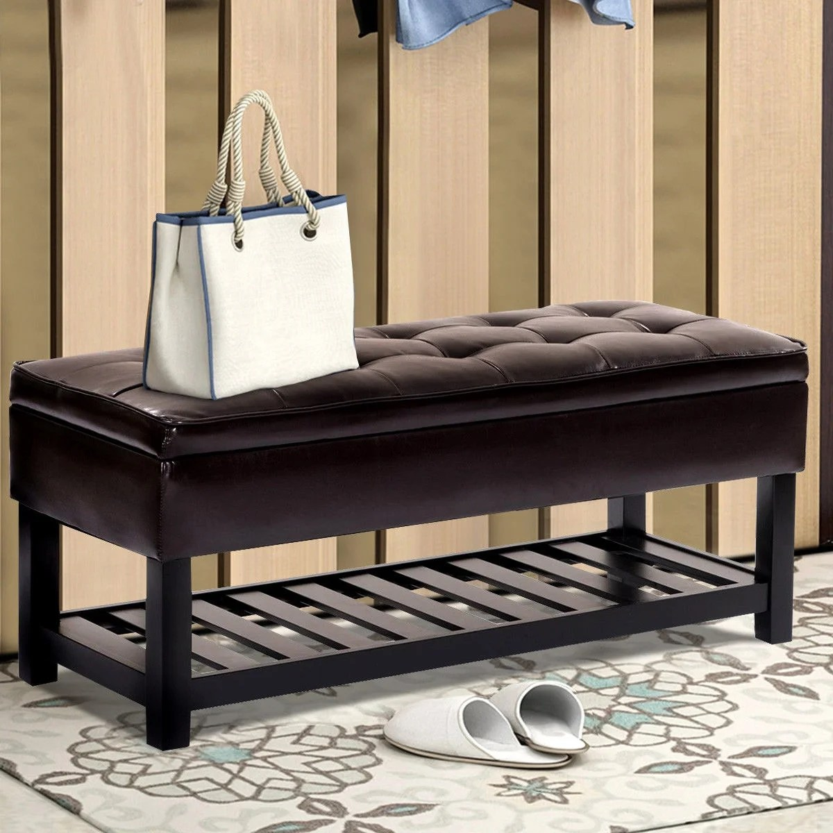 Storage Bed Bench Shoe Rack Entryway Furniture Pu Leather Ottoman Organizer Overstock 29258381