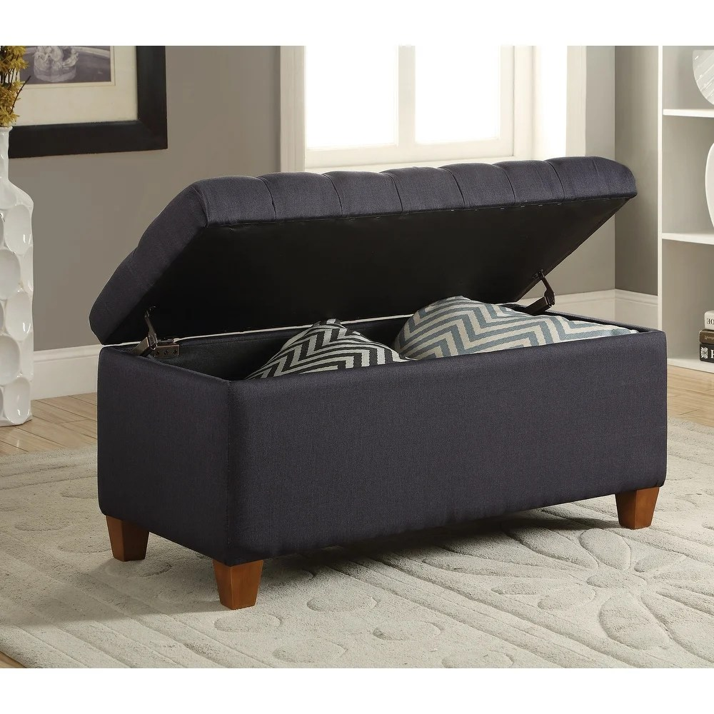 a line furniture lankary dark navy tufted storage ottoman bench fabric fabric from overstock com daily mail
