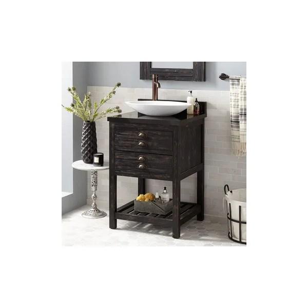 https www overstock com home garden signature hardware 942212 l benoist 24 single vanity set w reclaimed pine cabinet granite vanity top left side faucet hole 25735768 product html