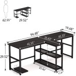 94 5 Inch Computer Desk Extra Long Two Person Desk With Storage Shelves Overstock 31514292