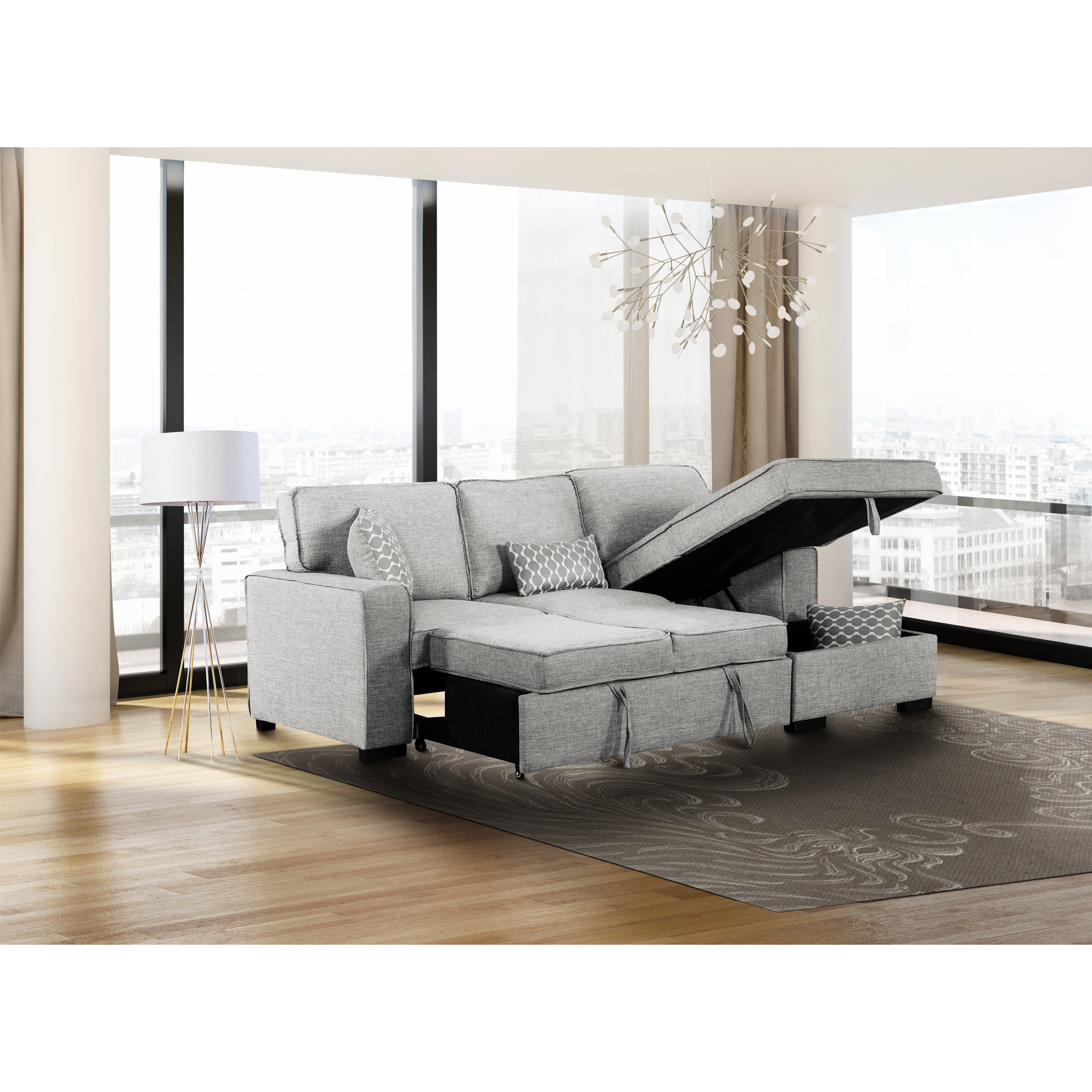 leo modern grey sectional sofa bed sleeper with storage chaise