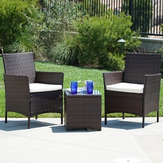 Belleze Wicker Furniture Outdoor Set  Piece Patio Outdoor Rattan Patio Set Two Chairs One Gl