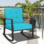 Shop Costway Patio Rattan Rocker Chair Outdoor Glider Rocking Chair Cushion Black Blue Overstock 32337892