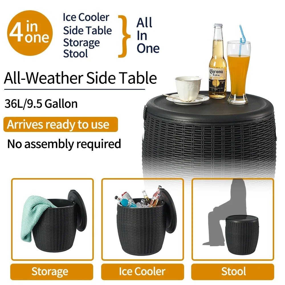 nuzanto 36l 9 5 gallon ice barrel beer and wine cooler outdoor patio side table