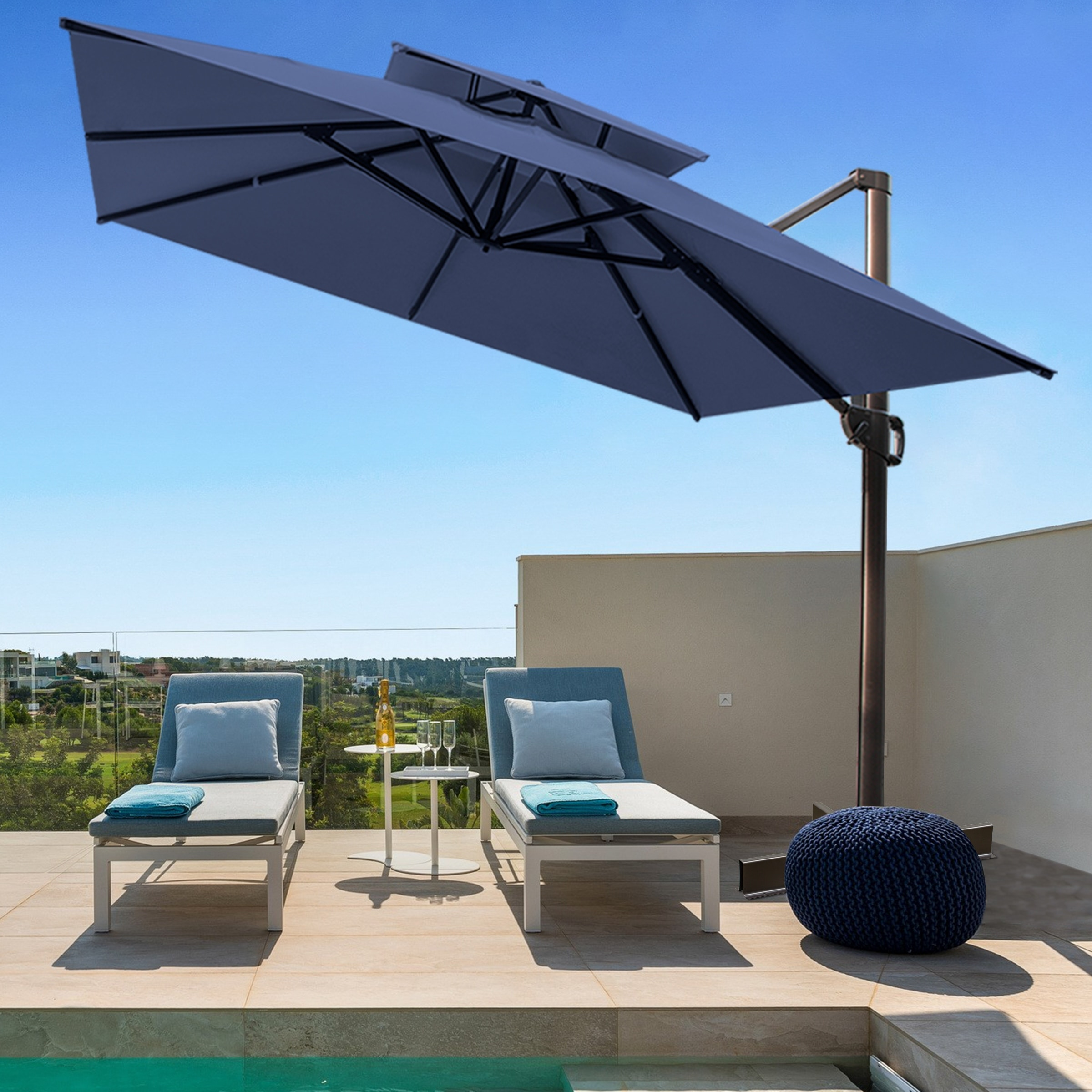 crestlive products outdoor 10 foot double top square offset umbrella