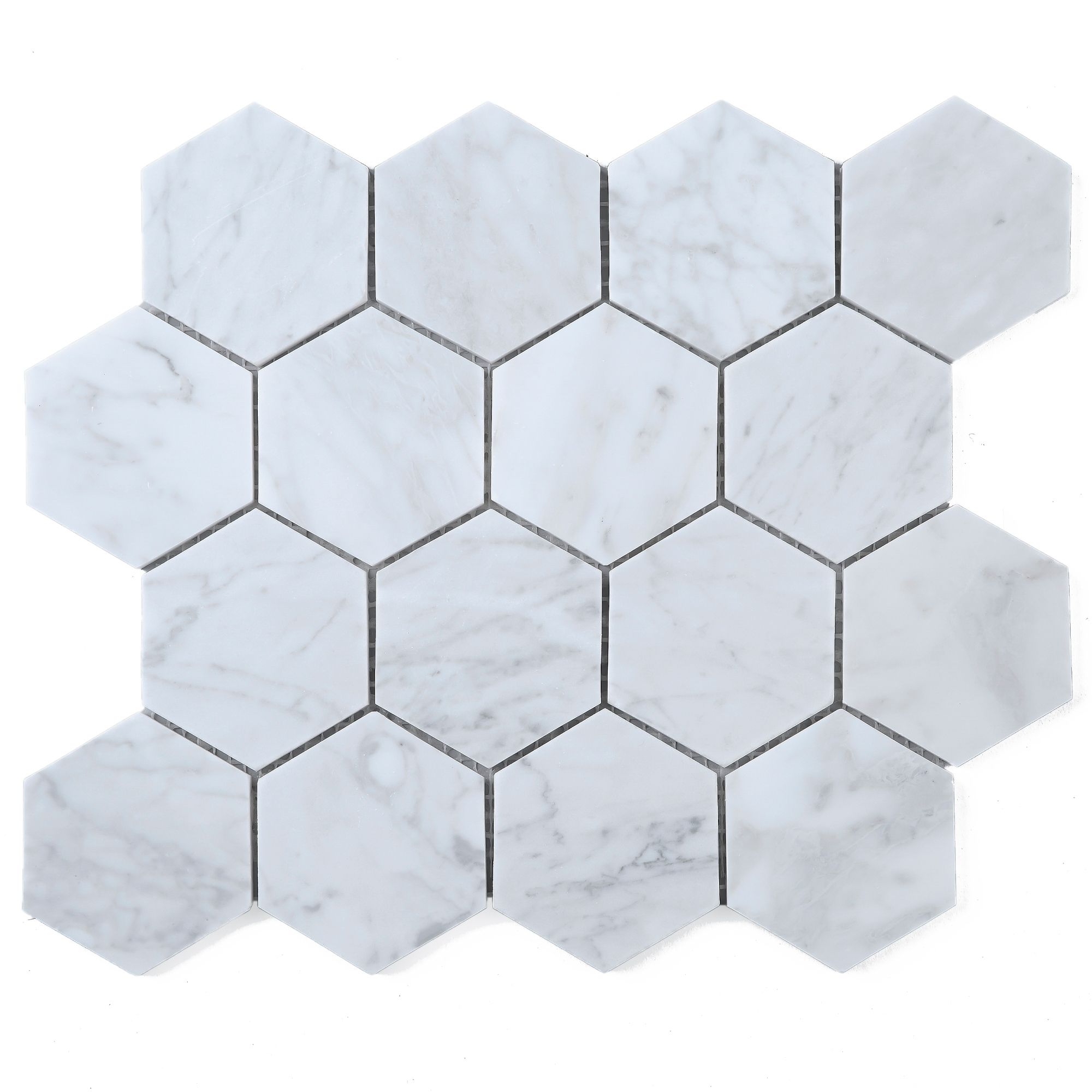 Tilegen 3 Hexagon White Carrara Marble Mosaic Tile In White Floor And Wall Tile 10 Sheets 8 6sqft Overstock 27973456