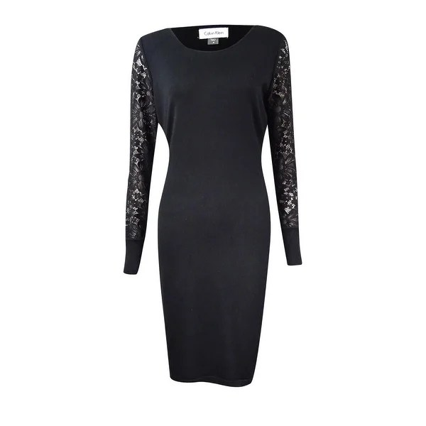 Shop Calvin Klein Womens Petite Lace Sleeve Sweater Dress