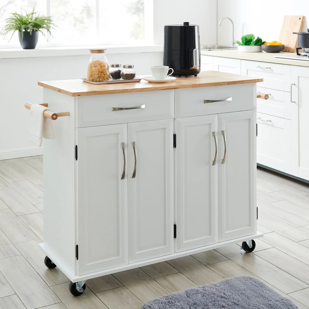 Shop Belleze White Wood Portable Kitchen Cart Rolling And Island Storage With Handle Standard Overstock 26880760