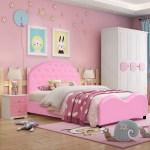 Kid S Bedroom Pu Upholstered Platform Twin Size Bed Tufted Headboard Pink