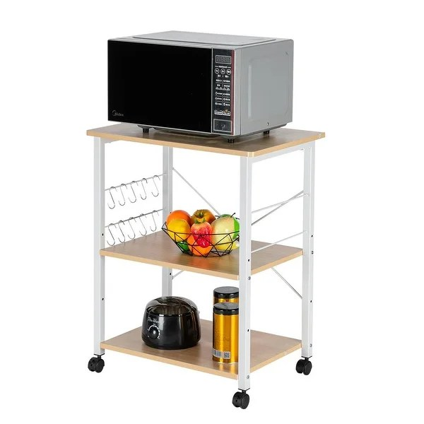 https www overstock com home garden bakers rack 3 tier kitchen utility microwave oven stand storage cart workstation shelf with 10 hooks 31095410 product html