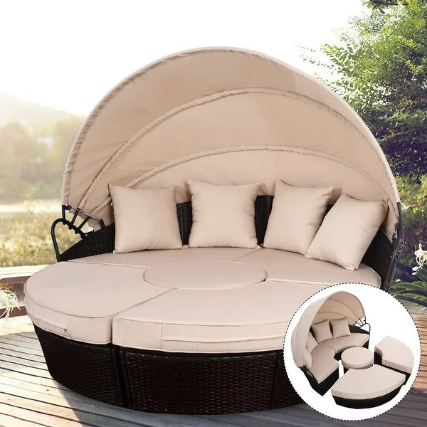 Shop Costway Outdoor Mix Brown Rattan Patio Sofa Furniture Round     Costway Outdoor Mix Brown Rattan Patio Sofa Furniture Round Retractable  Canopy Daybed