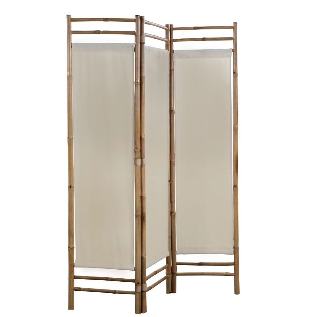 Vidaxl Folding 3 Panel Room Divider Sturdy Versatile Bathroom Bedroom Partition Privacy Screen Bamboo And Canvas 47 2 Home Kitchen Accent Furniture