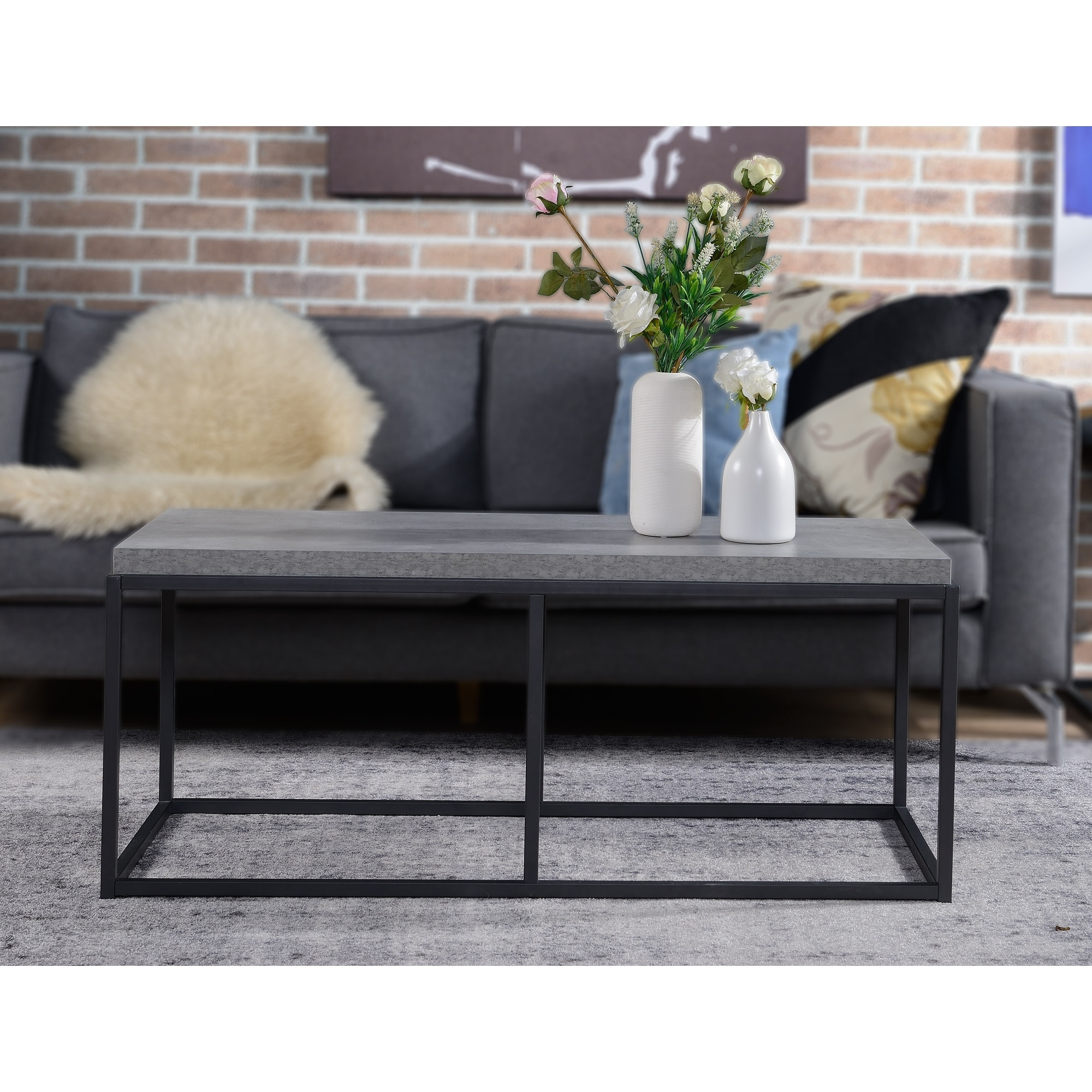 industrial cement look coffee table