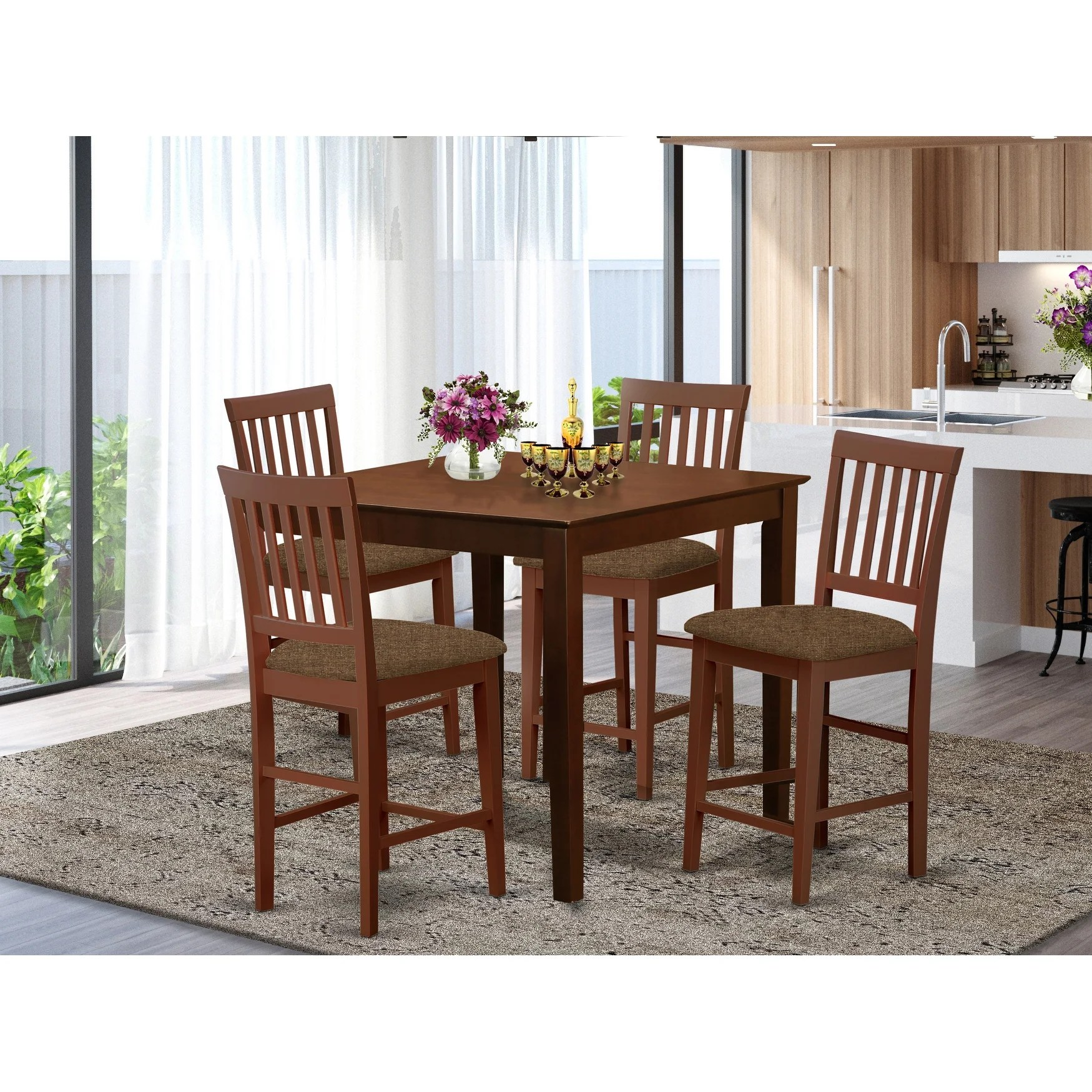Shop Black Friday Deals On Mahogany Square Counter Height Table And 4 Counter Height Chairs 5 Piece Dining Set On Sale Overstock 10201132