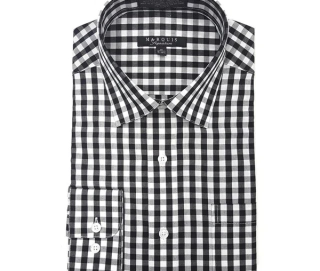 Marquis Mens Gingham Checkered Long Sleeve Modern Fit Dress Shirt